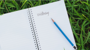 Notebook on grass with the word 'Wellbeing' written in it